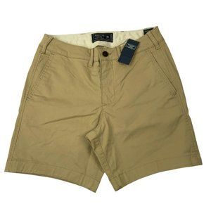 Abercrombie & Fitch Mens Tan Chino Flat Shorts NEW